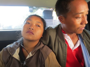 SaWa and her husband in the  back seat of our truck just as we arrived at MeDuGlow