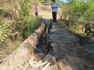 Broken wooden bridge